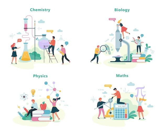 Conjunto de disciplinas escolares. ideia de educação e ciência