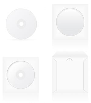 Conjunto de disco de cd branco em branco e ilustração vetorial de capa