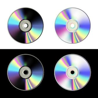 Conjunto de discos de cd em fundo branco e preto discos de laser em cores neon holográficas