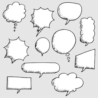 Conjunto de discurso de bolha em quadrinhos mão desenhada