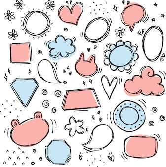 Conjunto de discurso de bolha fofo doodle