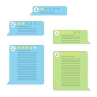 Conjunto de discursos de bolha de avaliação de avaliação em um design plano