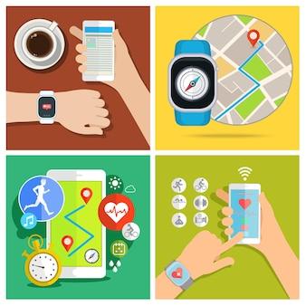Conjunto de dispositivo eletrônico de nova tecnologia de relógio inteligente. design plano, ilustração vetorial.