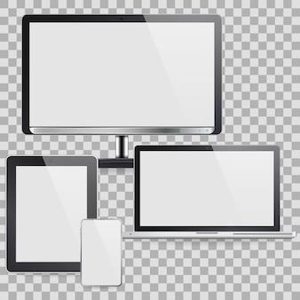 Conjunto de dispositivos de computador, como monitor e outros dispositivos
