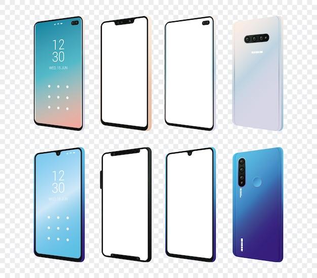 Conjunto de dispositivos de maquete de smartphones.