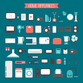 Conjunto de dispositivos eletrônicos e ícones de eletrodomésticos em estilo plano