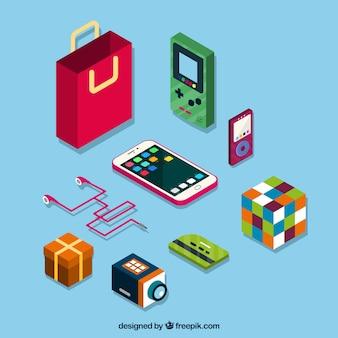 Conjunto de dispositivos eletrônicos e outros acessórios isométricos