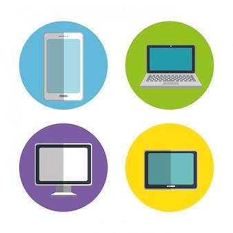 Conjunto de dispositivos eletrônicos ícones