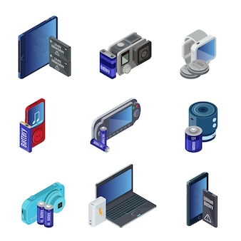 Conjunto de dispositivos eletrônicos isométricos