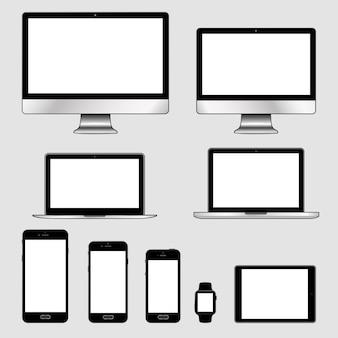 Conjunto de dispositivos eletrônicos modernos