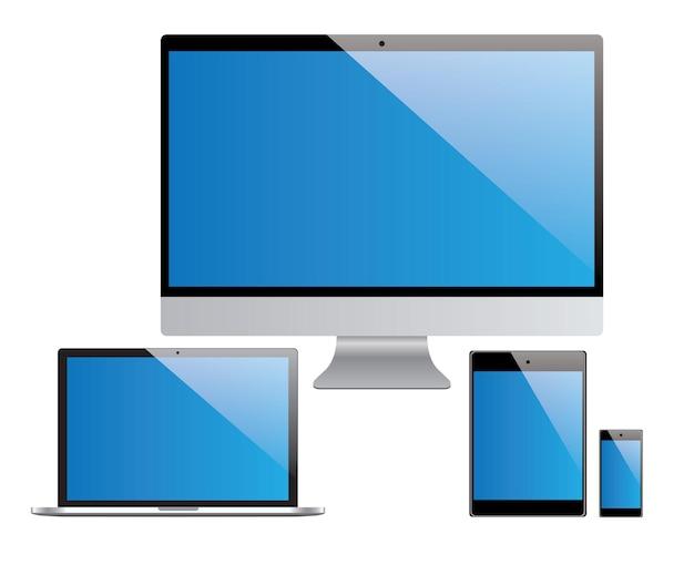 Conjunto de dispositivos, laptop, pc, tablet, smartphone em fundo branco