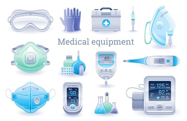 Conjunto de dispositivos médicos, proteger o equipamento. oxímetro de pulso, tonômetro, termômetro, máscara de oxigênio, medidor de glicose no sangue, respirador, óculos, luvas.