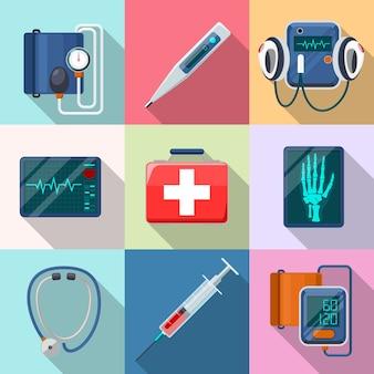 Conjunto de dispositivos médicos. tonômetro e fonendoscópio, desfibrilador e raio-x. cuidados e ferramentas, cuidados de saúde e ajuda, coleta de equipamentos, eletrocardiograma e instrumento