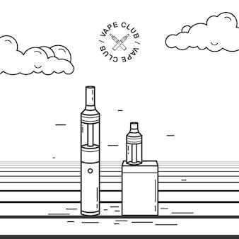 Conjunto de dispositivos para fumar vape. ilustração com e-cigarro e bateria.