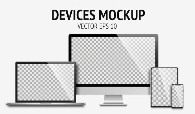 Conjunto de dispositivos realistas de monitor, laptop, tablet, smartphone cor cinza escuro