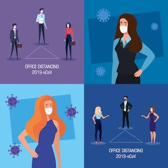 Conjunto de distanciamento social da campanha no escritório com pessoas de negócios vector design ilustração