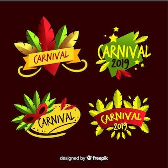 Conjunto de distintivo de carnaval de mão desenhada