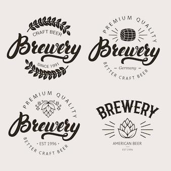 Conjunto de distintivo de cervejaria vintage, etiqueta, modelo de logotipo.