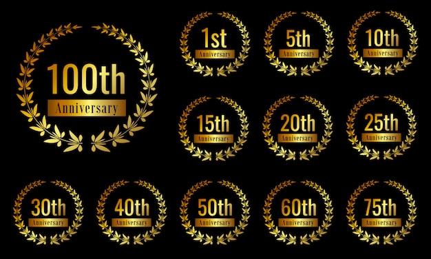 Conjunto de distintivo de comemoração de aniversário dourado
