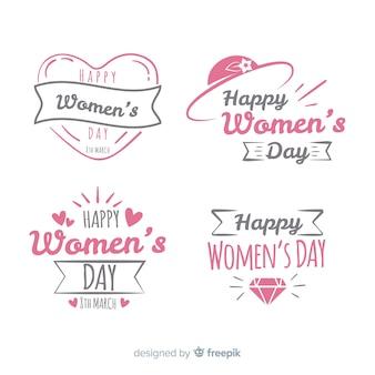 Conjunto de distintivo de dia da mão desenhada feminino