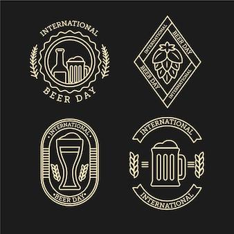Conjunto de distintivo de dia internacional da cerveja