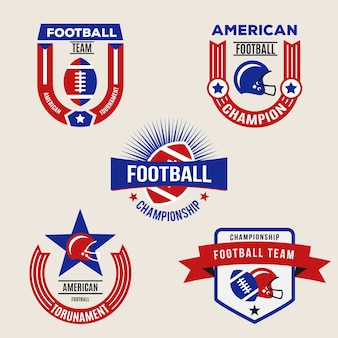 Conjunto de distintivo de futebol americano retrô