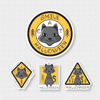 Conjunto de distintivo de gato gato halloween
