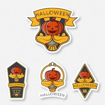 Conjunto de distintivo de halloween sorriso