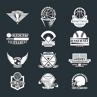 Conjunto de distintivo de logotipo de equipe esporte.