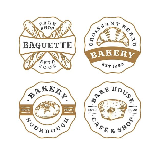 Conjunto de distintivo de logotipo de padaria em design vintage.