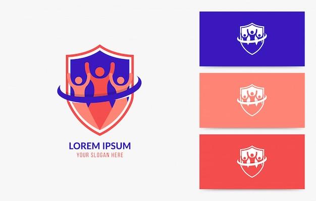 Conjunto de distintivo de logotipo de trabalho em equipe de negócios