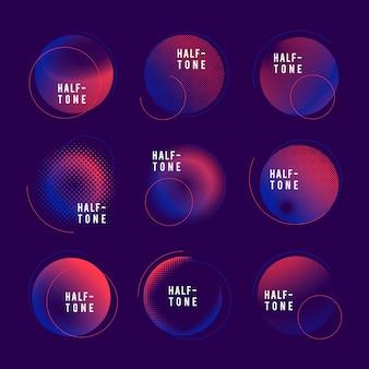 Conjunto de distintivo de meio-tom azul e rosa