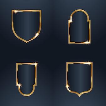 Conjunto de distintivo de moldura dourada de venda