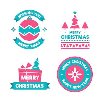 Conjunto de distintivo de natal de design plano