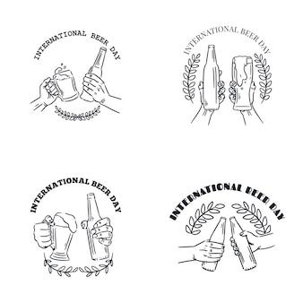 Conjunto de distintivo de oktoberfest de monograma desenhado à mão