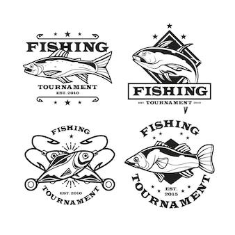 Conjunto de distintivo de pesca vintage
