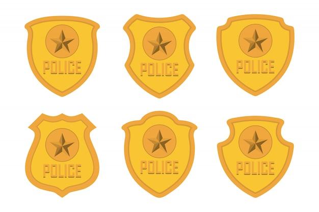 Conjunto de distintivo de polícia de ouro isolado