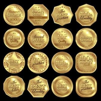 Conjunto de distintivo de prêmios dourados
