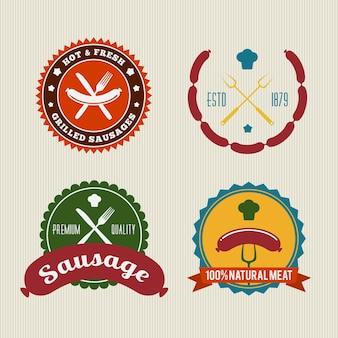 Conjunto de distintivo de salsicha retrô
