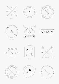 Conjunto de distintivo de seta simples