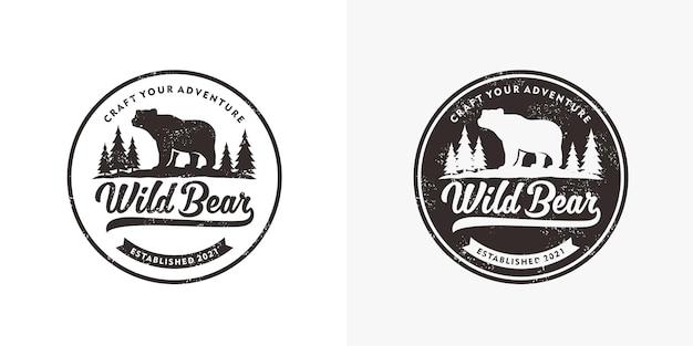 Conjunto de distintivo de urso selvagem