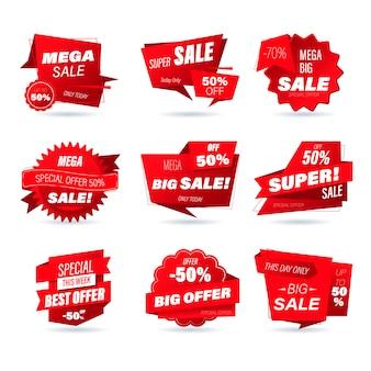 Conjunto de distintivo de venda a retalho. estilo de origami de compras on-line de adesivos para anúncios de mídia social e banners, emblemas de site, marketing, etiquetas e adesivos para o modelo de promoção de produtos ilustração.