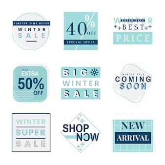 Conjunto de distintivo de venda de inverno