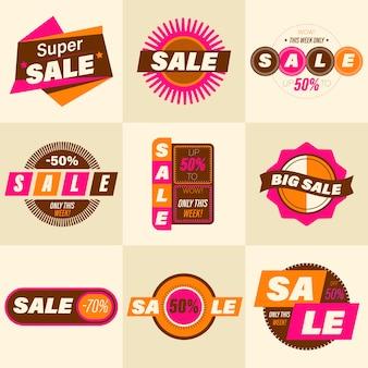 Conjunto de distintivo de venda retrô. estilo vintage de qualidade premium de adesivos para anúncios de mídia social e banners, emblemas de site, marketing, etiquetas e adesivos para modelos de compras online. ilustração.