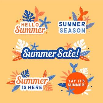Conjunto de distintivo de verão sazonal design plano