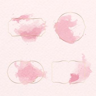 Conjunto de distintivo dourado com tinta aquarela rosa