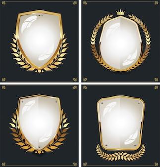 Conjunto de distintivo dourado premium de luxo