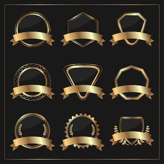Conjunto de distintivo dourado