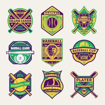 Conjunto de distintivo isolado de liga profissional de beisebol