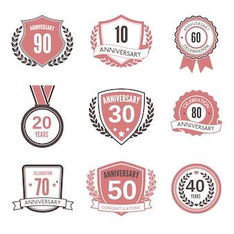 Conjunto de distintivo ou rótulo de aniversário